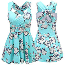 Womens Swim Dress Light Blue Swimsuit Crossover Swimwear Floral Spa Bathing Suit