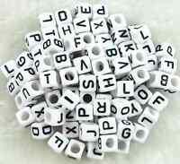 100 Acrylic SINGLE LETTER A-Z White Cube ALPHABET BEADS 6mm