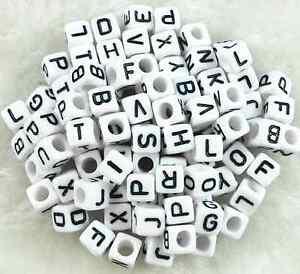 100Pcs 6mm Acrylic SINGLE LETTER A-Z White Cube ALPHABET BEADS