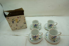 SHAFFORD PORCELAIN RHAPSODY PATTERN DEMITASSE CUP SAUCER SET 4 IN BOX FINE CHINA