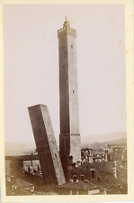 Italie, Bologne, Les Deux Tours de Bologne, ca.1880, vintage albumen print Vinta