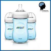 Philips AVENT Natural Bottle 9oz / 260ml BLUE - 3 Bottles (Triple Set)