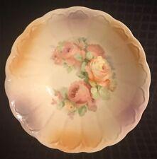 """Harker 1840  Vintage Floral Roses Golden 8.75"""" Bowl"""