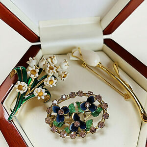 VINTAGE JEWELLERY MIXED ENAMEL FLOWER BROOCHES/PINS (Ciro, Suffragette)