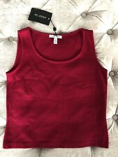 NWT St. John Collection Berry Scoop Neck Sleeveless Basic Tank Top Size P