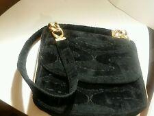 Unique vintage Crown Lewis black gold chain strap and trim velvet velour handbag