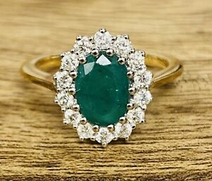 9ct Yellow Gold Emerald & Diamond Cluster Ring- Size J - TH1114