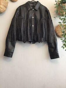Zara Faux Leather Jacket With Studded Fringe Size S Bloggers Fav Genuine Zara