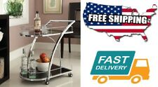 Home Garden Kitchen Chrome Metal Bar Wine Tea Serving Cart Tempered Glass Size
