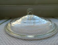 """New ListingGlasbake Art Deco 8.5"""" Round Clear Glass Lid Only #55 Replacement"""