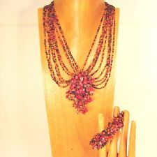 "16"" Handmade Orange Red Cluster Bling Seed Bead Necklace/Bracelet PERFECT MATCH"