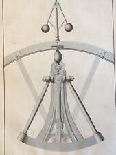 Superbe Grand Dessin instrument scientifique encre lavis original à identifier
