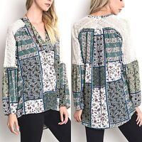 Umgee Top Size XL S M L Patchwork Print Lace Tunic Long Sleeve Womens Shirt New