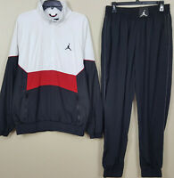 NIKE AIR JORDAN RETRO 3 TRACK SUIT JACKET + PANTS WHITE RED BLACK (SiZE LARGE)