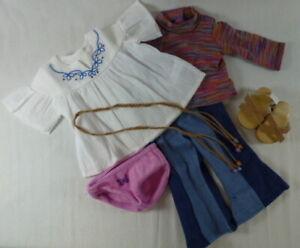 American Girl~Julie~Original Meet OUTFIT~Two Tops~Jeans~Sandals~Panties~NEW~