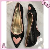 Womens Irregular Choice Meile White Pink Heart Low Heel Court Shoes Size