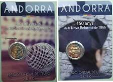 Andorra 2x 2 Euro Gedenkmünzen 2016 Rundfunk + Reform CoinCard commemorative