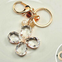 For Girl Ladies Four Leaf Clover Keychain Pendant Car Crystal Key Ring Jewelry