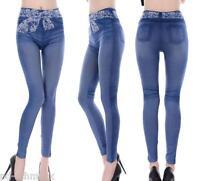 Damen Leggins Leggings Jeggings Stretchhose Jeans Look Blau Skinny Neu