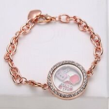 Round Crystal Living Memory Locket for Floating Charms Bracelet Magnetic Jewelry