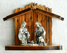 Handmade Miniature Olive Wood Holy Family Nativity with Silver Tone Figurines