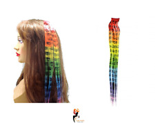 40cm Rainbow Leopard Print Hair Extensions Clip on Party Highlights ladies girl