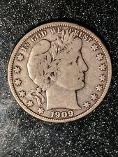 1909-O New Orleans Mint Silver Barber Half Dollar RARE VF
