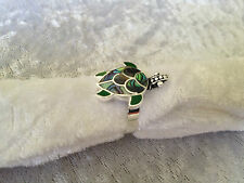 925 STERLING SILVER RING - ABALONE SHELL GREEN SEA TURTLE ADJUSTABLE SIZE RING