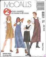 8351 Vintage McCalls SEWING Pattern Misses EASY Jumper 2 Hour UNCUT OOP NOS FF