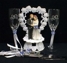 Blue Wedding Gift LOT Heart to Heart Cake Topper, Toasting Glasses, Knife Server