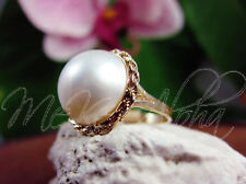 14k Gold 16.5mm Large Pearl Diamond Cut Rope Ring S#6.5
