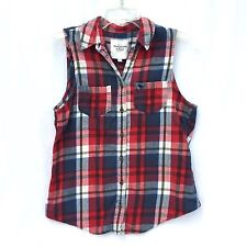 Abercrombie & Fitch Womens Flannel Vest Shirt Size XS Red Button Down Plaid