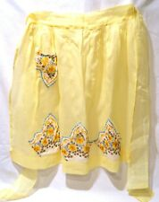 Vintage HALF APRON yellow with retro hankies as trim, generous size for a change