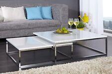 Couchtisch modern Beistelltisch 2er Set weiss STAGE hochglanz Design Tisch Set