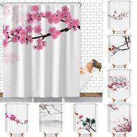 Floral Sakura Waterproof Bathroom Home Decor Shower Curtain Set With 12 Hooks