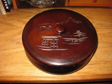 Vintage Asian Oriental Wood Wooden Trinket Box Round Etched Carved Top