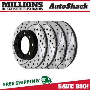 2008 For Ford F-250 Super Duty Front Cross Drilled Slotted and Anti Rust Coated Disc Brake Rotors and Ceramic Brake Pads 4WD Note: 4WD Stirling
