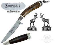 Trachtenmesser mit   Hirschhorn-Griff + Zierkappe GEMSE Stahl 1.4116