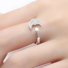 Valentine's Gift Simple Star Moon Finger Ring Adjustable Opening New Arrival