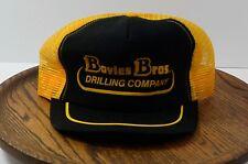 Boyles Bros Drilling Company Vintage Trucker Hat Yellow Black Mesh Snapback USA