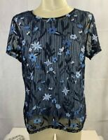 Christopher Banks Women's Petite Small Sheer Floral & Stripe Blue Top Blouse