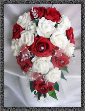 BRIDES LARME BOUQUET , Fleurs De Mariage Ivoire & roses rouges avec diamante