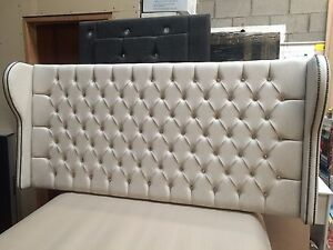 "⚽ NEW HEADBOARD  KING SIZE  5ft  x 38 "" BUTTONED CHESTERFIELD STYLE WITH WINGS"