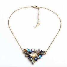 Rose & Peony British Statement Blue Zara Amber Triangle Necklace