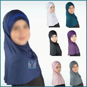 Children Hijab Girls 9 yrs + Scarf Muslim islamic Headscarf Instant Kids school
