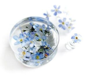 Forget me not blue flower ear plug resin wedding gauge ear tunnel jewelry 1 pair
