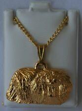 Pekingese Dog 24K Gold Plated Pewter Pendant Chain Necklace Set
