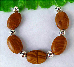 5Pcs 11x7x4mm Natural Brown Wood Grain Stone Oval Height Holes Bead AP11615