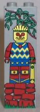 LEGO JUNGLE DUDE BRICK ~ 1x2x5 Gray with Aztec Jungle Minifigure Minifig Pattern