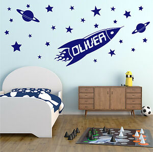 ROCKET Personalised Any Name Wall Sticker Boys Bedroom Kids Vinyl Decal AD179